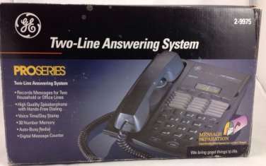 GE General Electric Pro Series Telephone Two 2 Line Answering System #2-9975
