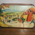 Vintage 1940s One Handle Lunch Box / Candy Tin Artwork Children Going to School