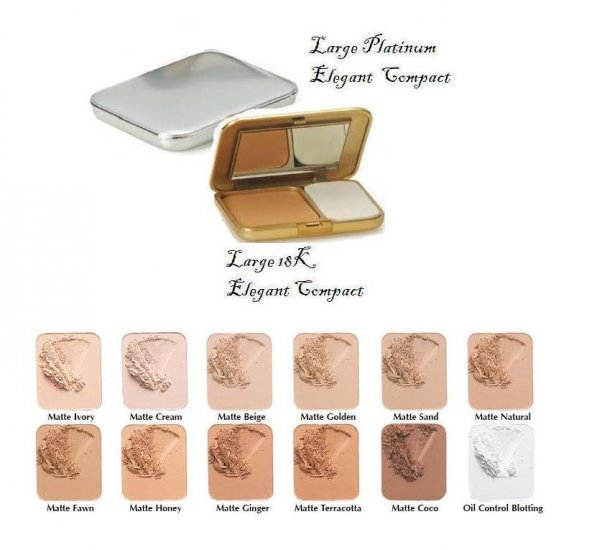 Oil Free Pressed Powder Large Elegant Platinum & 18K Compact