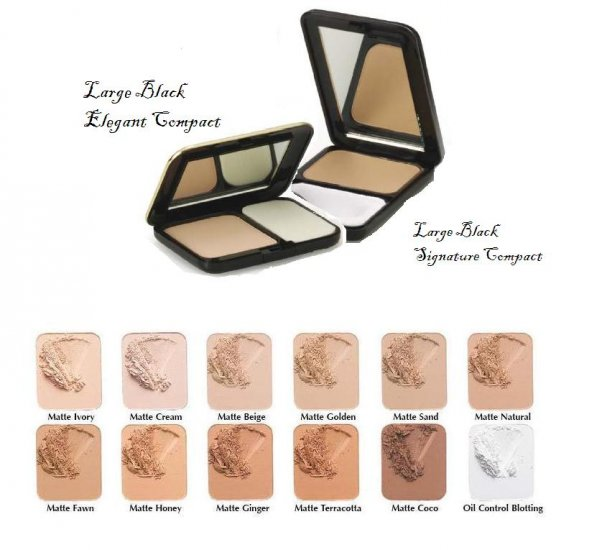 Oil Free Pressed Powder Elegant & Large Black Signature Compacts