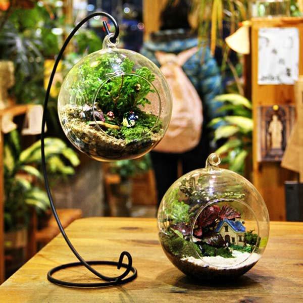 Gift Set - 2 Pcs Ball Shape Hanging Glass Vase with 30cm Suspension Rack!