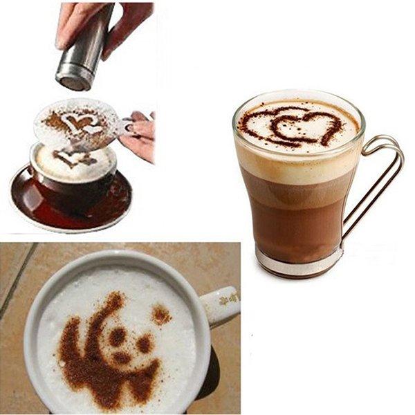 16Pcs Fashion Latte Cappuccino Coffee Barista Stencils Template