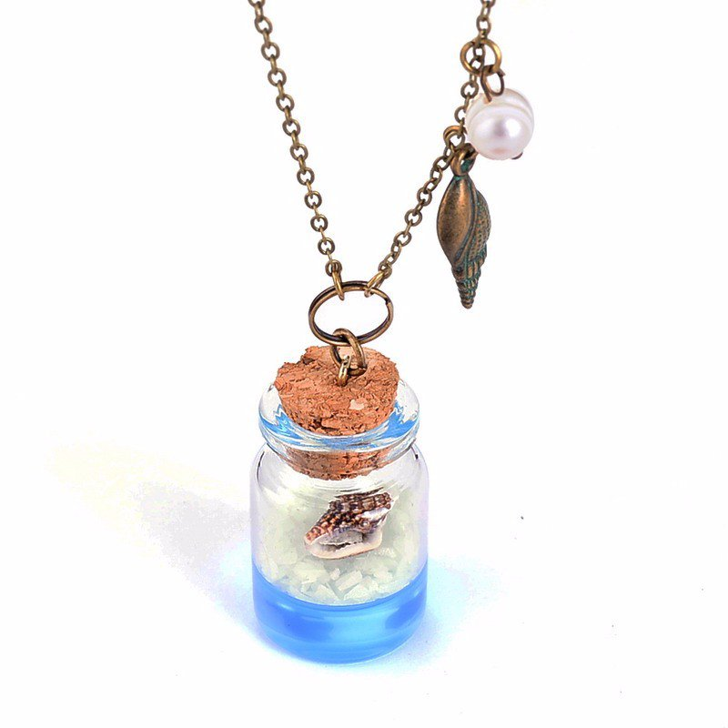 Conch Glowing Beach Ocean Wish Bottle Handmade Crystal Glass Sea Snail Necklace