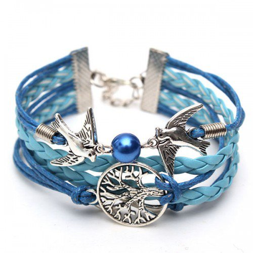 Tree of Life Infinity Dove Leather Bracelet Vintage Bracelet - Pink/Blue