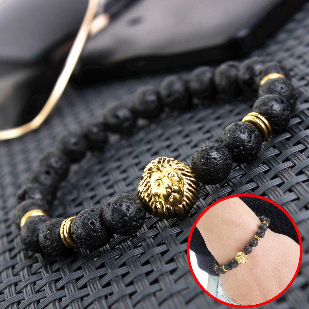 Men's Antique Black Lava Stone Gold Lion Head Bracelet