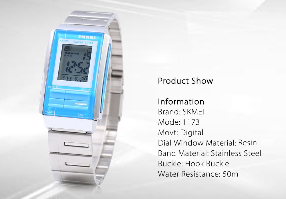 LED Digital Watch Stainless Steel Water resistant - 50m, Alarm, Back Light, Chronograph