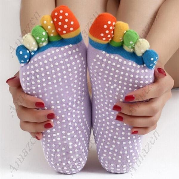Stylish Yoga Anti Skid Non Slip Socks - Colorful 5 Finger Toe Breathable! 1 PAIR