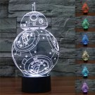 3D BB8 ROBOT 7-Color LED Night Light Touch Switch USB Table Desk Lamp Decor