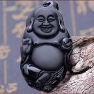 Natural Black Obsidian Carved Laughing Buddha Lucky Amulet Pendant Necklace
