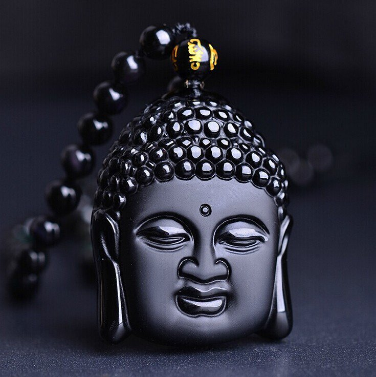 Natural Obsidian Vintage Black Buddha Head Pendant with free Bead Necklace
