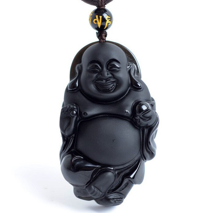 Natural Black Obsidian Carved Happy Maitreya Buddha Free Beads Necklace!