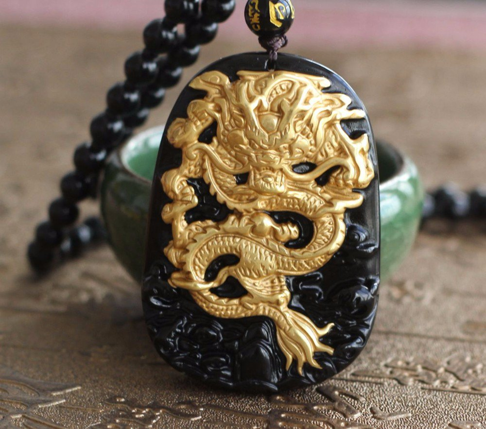 Gold Natural Black Obsidian Carving Dragon Lucky Amulet Pendant with free Bead Necklace