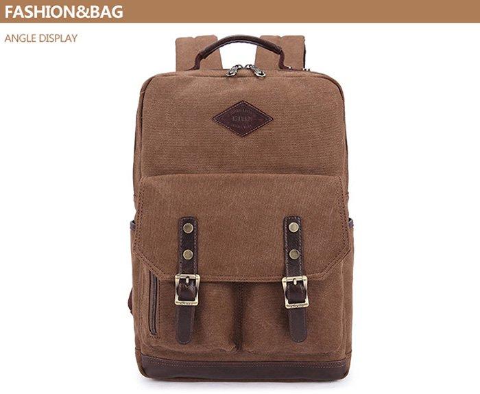 KAUKKO ZP20 15L Retro Style Unisex Canvas Backpack   -  DARK KHAKI