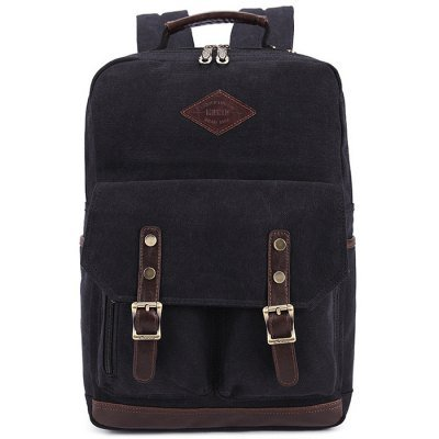 KAUKKO ZP20 15L Retro Style Unisex Canvas Backpack   - BLACK