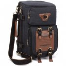 Kaukko 22L Multi-function 100% Canvas Backpack  -  BLACK