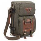 Kaukko 22L Multi-function 100% Canvas Backpack  -  ARMY GREEN/BLACK/KHAKI BROWN