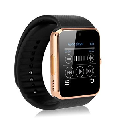 GT08 Smart Watch Phone Make/Receive calls Pedometer Sleep Monitor Sedentary Remind Remote Cam - Gold