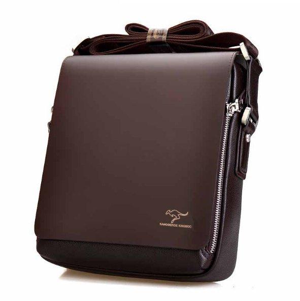 2017 NEW Fashion Designer PU Leather Shoulder Bag for Men - Black (Large V)