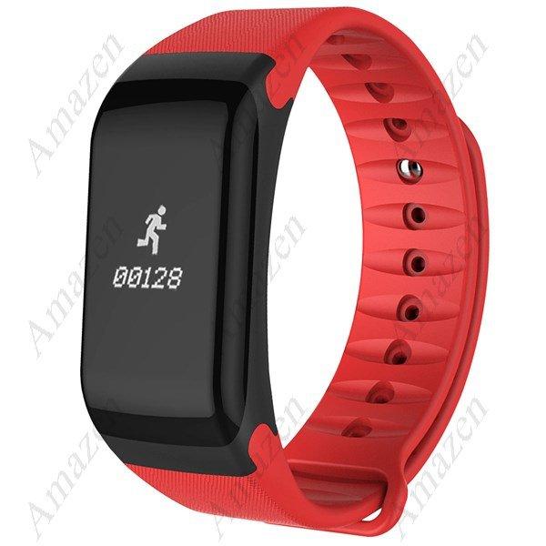 F1 Smart Bracelet Oximeter Blood Pressure Heart Rate Monitor Pedometer Calorie Sleep - Red