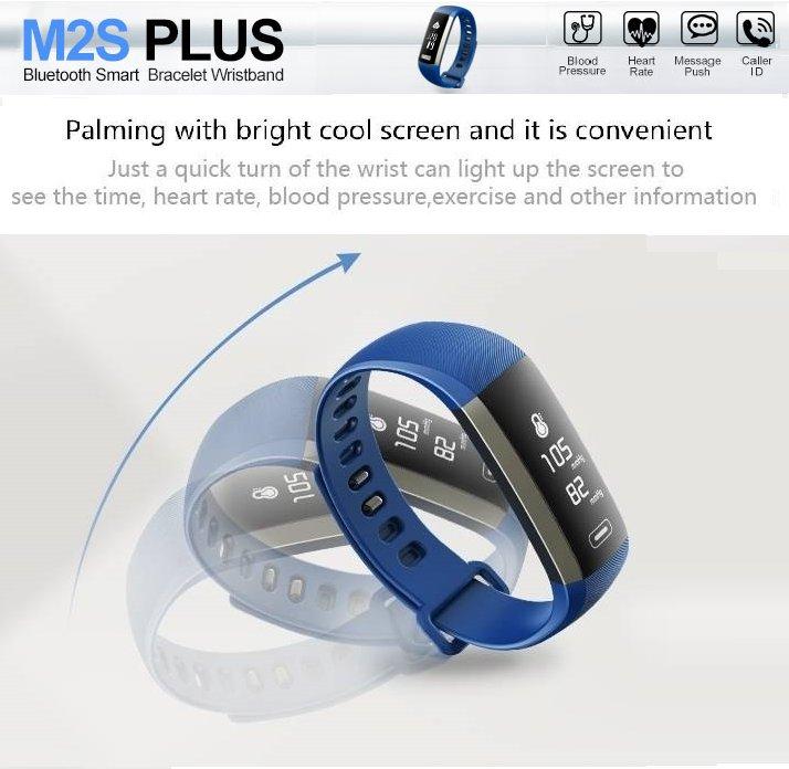 2017 LATEST MODEL! M2S PLUS Heart Rate Blood Pressure Activity Tracker-Smart Bracelet - Blue