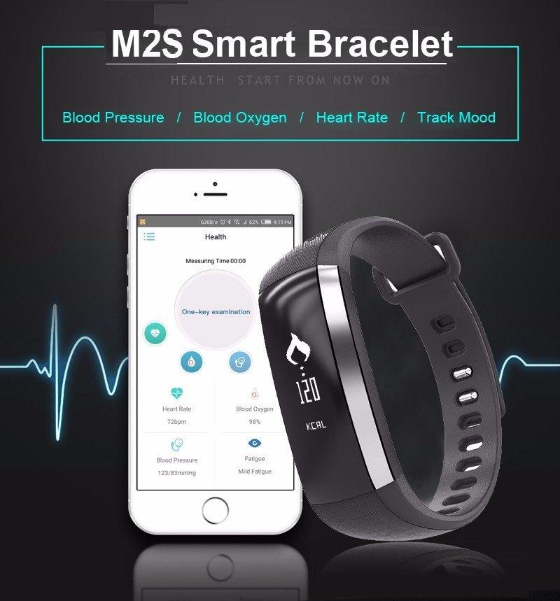 XM2-S Pro Smart Watch Bracelet Fitness Tracker Blood Pressure/Oxygen/Heart Rate/Fatigue - Black