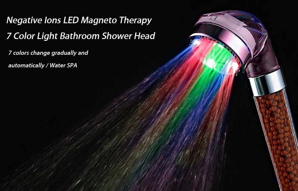 Best Seller! High Quality Genuine Negative Ions LED Magneto Therapy 7 Color Light Shower Head