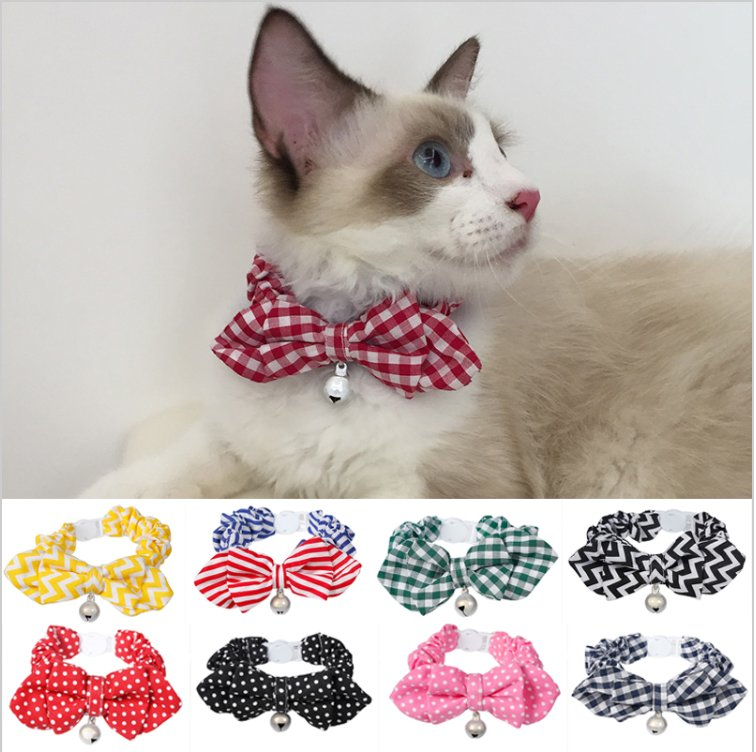 2017 Fashion Bow Tie Cat Collar for Cats or Small Dogs - 2 Pcs