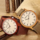 Bewell ZS Unisex Quartz Watch Japan Movt Wooden Case Canvas Band Wristwatch - Ebony