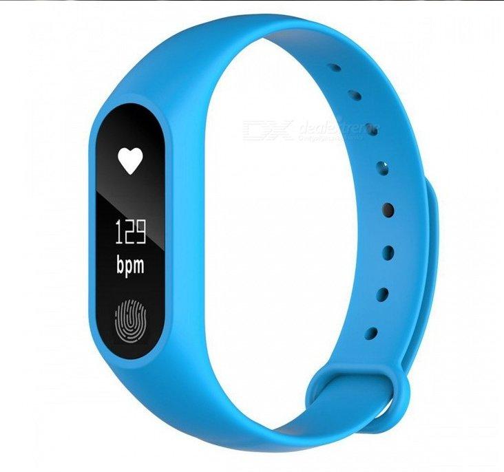 "M2 Waterproof Smart Bracelet Heart Rate Monitor 0.68"" OLED Touch Screen, Pedometer, Sleep - Blue"