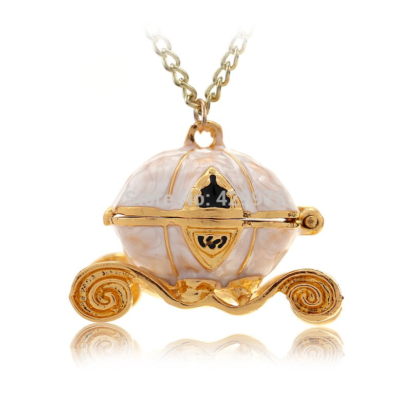 Sweet Pumpkin Carriage Necklace Cinderella Fairy Tale God-Mother Exquisite Pendant Necklace