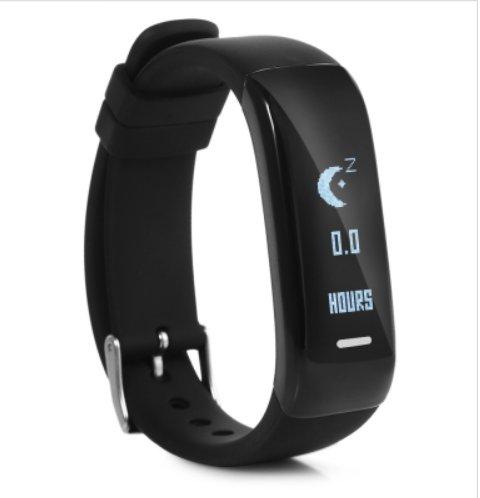 New! P1 Smart Activity Sports Bracelet Heart Rate Blood Pressure Stopwatch - Black