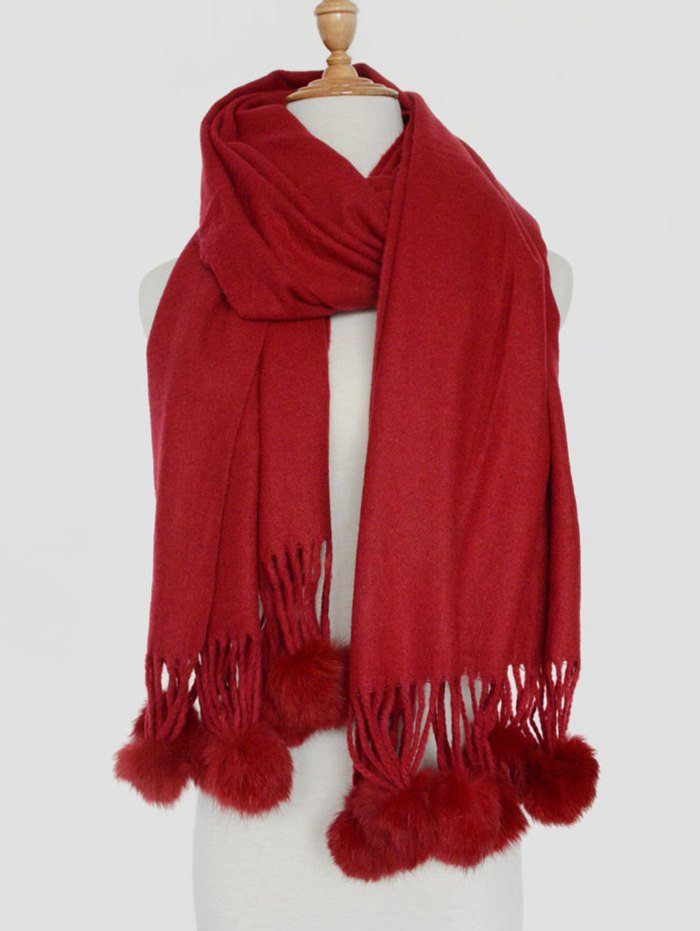 Fuzzy Ball Pendant Shawl Scarf - Wine Red