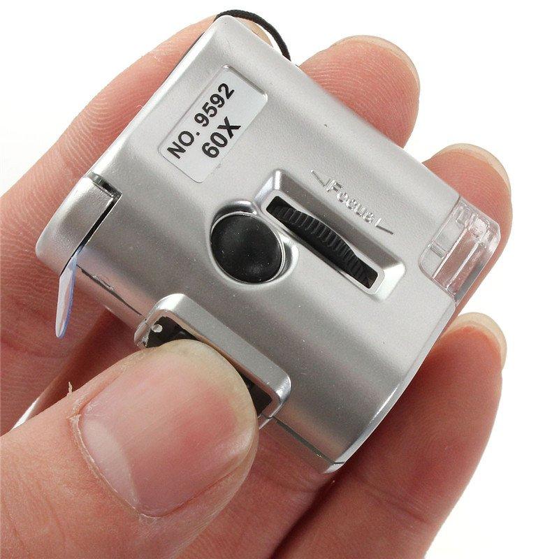 60X Mini Zoom Microscope Money Detector 60x Magnifier