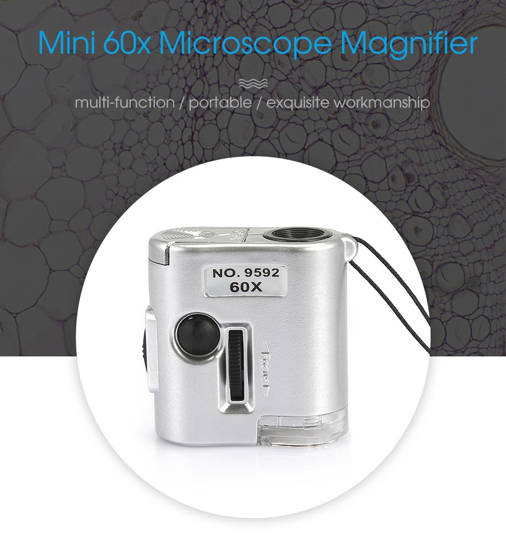 2 Pcs - 60X Mini Zoom Microscope Money Detector