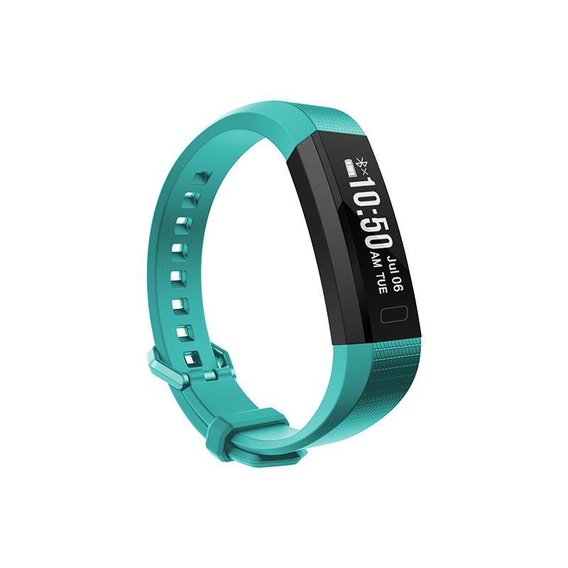 Dynamic Heart Rate Monitor Pedometer Waterproof Smart Wristband USB Charging - Blue-green