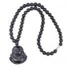 Natural Black Bian Stone Carved Lucky Laughing Buddha Pendant Beads Necklace Massager