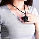 Buddha Guanyin Head Obsidian Pendant Amulet + Necklace