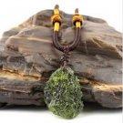 Natural Green Moldavite aerolites Crystal Stone Pendant with Free Neckalce