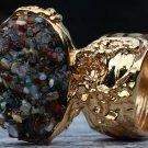 Mix Gemstone Mini Stones Arty Inspired Ring Gold Size 10