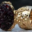 Garnet Gemstone Mini Stones Arty Inspired Ring Gold Size 8.5