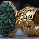 Turquoise Gemstone Arty Inspired Ring Green Blue Gold Size 7.5