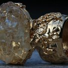 Crystal Quartz Chips Arty Inspired Ring Gold Size 4.5
