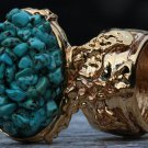 Turquoise Gemstone Arty Inspired Ring Blue Gold Size 8.5