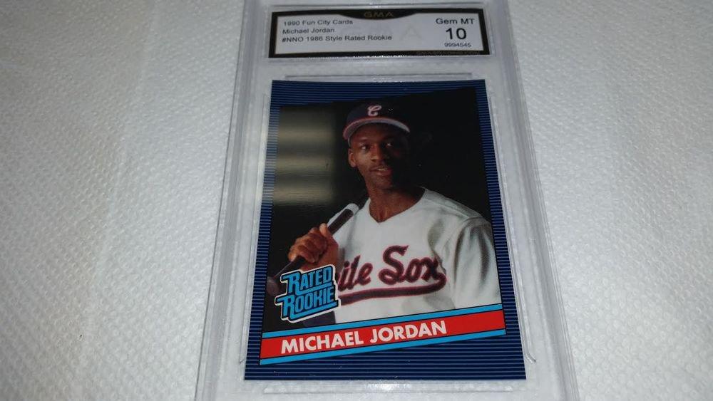 1990 MICHAEL JORDAN RATED ROOKIE 1986 DONRUSS BASEBALL STYLE GRADED 10 GEM MINT