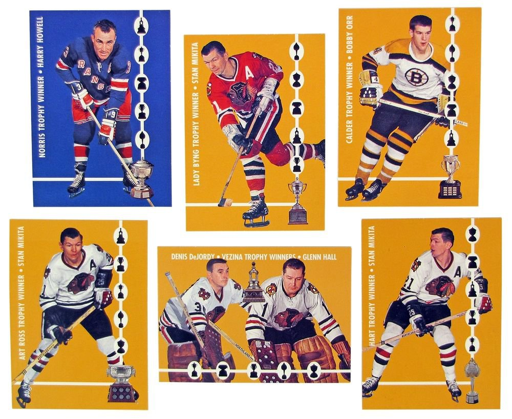 1966-67 IN THE GAME PARKHURST HOCKEY TROPHY WINNERS RARE REPRINT SET.ORR-MIKITA