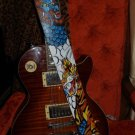 TATTOO Leather Guitar strap Asian oni tiger draogon clouds adjustable handmade