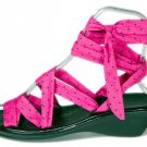 Rockabilly pin up PINK and green tiny dots design sandals summer strappy wedge