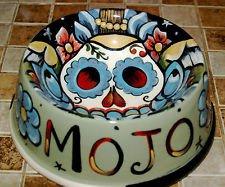 Tattoo ceramic custom Dog Bowl SKULL Bowl DAY OF THE DEAD DOD winged skulls FOLK