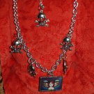 Vintage tattoo skull NECKLACE charm necklace Heavy NICE