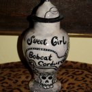 Custom Memorial GOTH CERAMIC SMALL Pet urn CAT ashes Personalized with date name